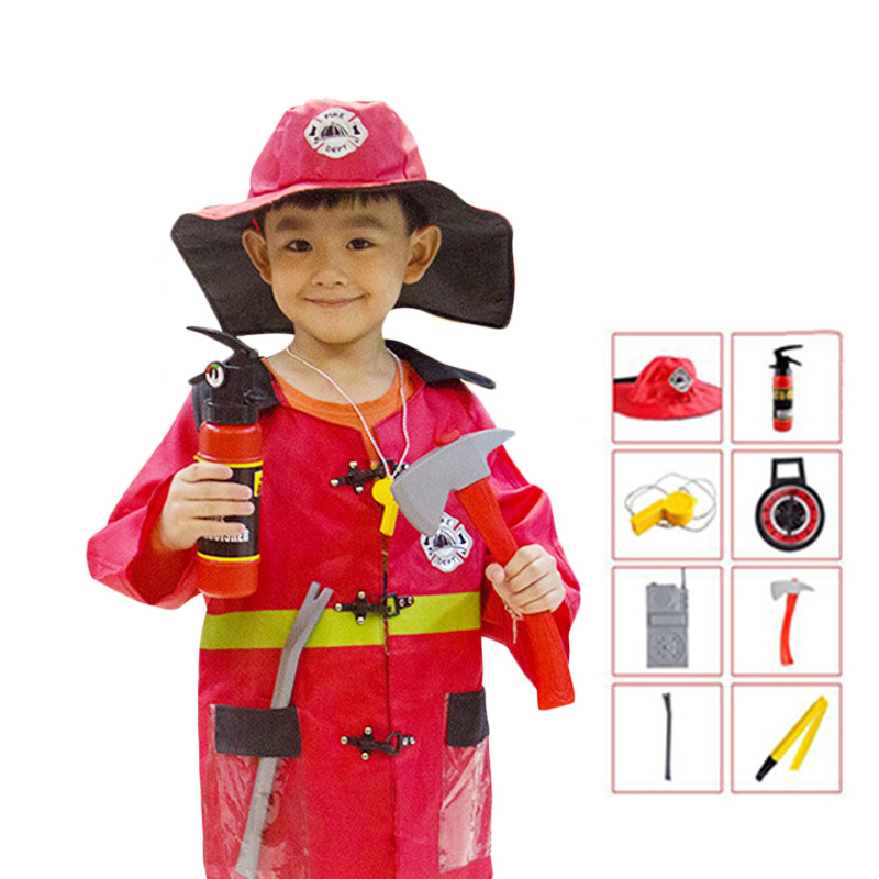 Halloween Cosplay Sam Fireman Costume For Kids Boy Girl Sam Firefighter Costumes Birthday Party Clothes Fireman Toy Set