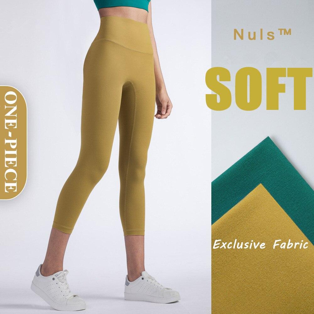 2020 New NULS Yoga Pants Women Seamless Leggings Soft Capri Pants Back Pocket Gym Leggings Hip Push Up Fitness Running Tights