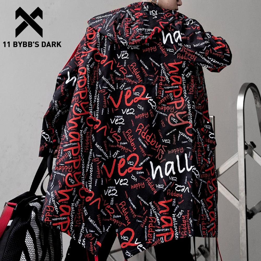 11 BYBB'S DARK Extra Long Jacket Trench Men Full Letter Print Harajuku Windbreaker Nightclub Overcoat Male Casual Outwear KJ166
