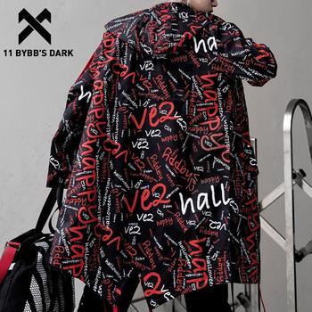 11 BYBB'S DARK Extra Long Jacket Trench Men Full Letter Print Harajuku Windbreaker Nightclub Overcoat Male Casual Outwear KJ166