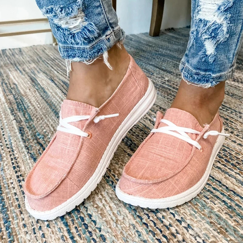 Canvas Shoes Women Lace Up Sneakers 2020 Summer Ladies Loafers Soft Breathable Casual Shoes Solid Female Flat Shoes Plus Size 1