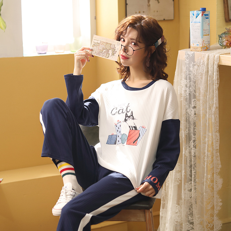 Sweet Girl's Pyjamas Two-piece Set Long Sleeve Round Collar Printing Polyester College Windprint Home Wear Set Warm Pajamas 36