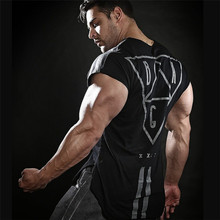2019 New Men sleeveless Cotton t-shirt Summer Casual Fashion Gyms Fitness Bodybuilding workout  Male Slim Tees Tops Clothing