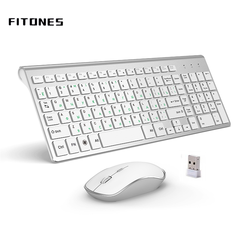 Russian Version 2.4g Wireless Keyboard And Mouse, Ergonomics, Portable Full Size, USB Interface, High-end Fashion Silvery White