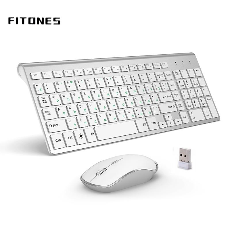 Russian version 2.4g wireless tastiera e mouse, ergonomia, portatile full size, interfaccia USB, high-end moda bianco argenteo
