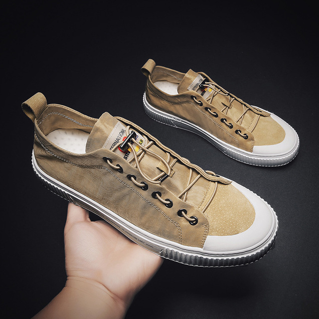 Elastic Band Men Canvas Casual Shoes Leisure Shallow Solid Flat Vulcanize Shoes Sewing Low Cut Summer Breathable Boys Sneakers 1