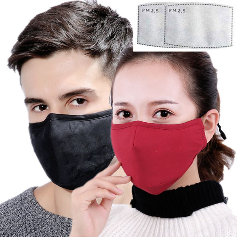 Black Face Mask Unisex PM 2.5 Filter Mask Breathable Mouth Mask Reusable Anti Pollution Face Shield Wind Proof Mouth Cover