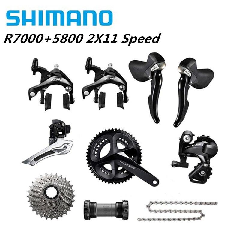 Shimano 105 r7000 5800 groupset bicicleta de estrada 2x11 s 50-34 t 52-36 t 53-39 t 170 172.5 175mm com desviador traseiro gs 11-32 t 22s