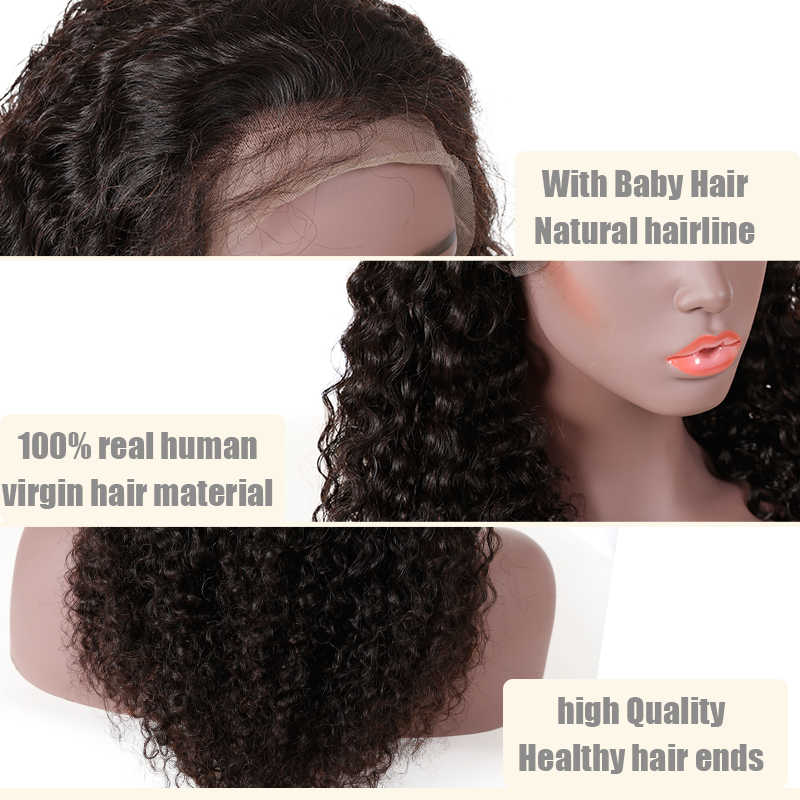 Full Lace Menselijk Haar Pruiken Voor Zwarte Vrouwen Water Wave Remy Braziliaanse Baby Natuurlijke Haarlijn Kleur 130% Pre Geplukt Lage verhouding