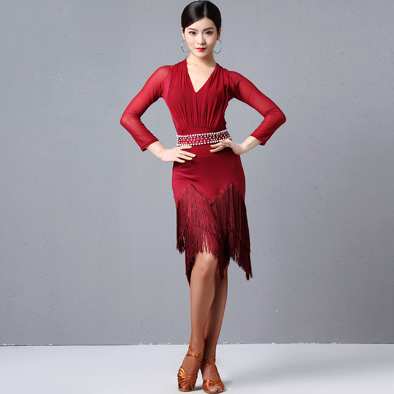 Latin Dance Dresses Female Latin Dance Practice Fringe Skirt Adult Autumn And Winter Sexy Long Sleeve Tassel Dresses DQL2470