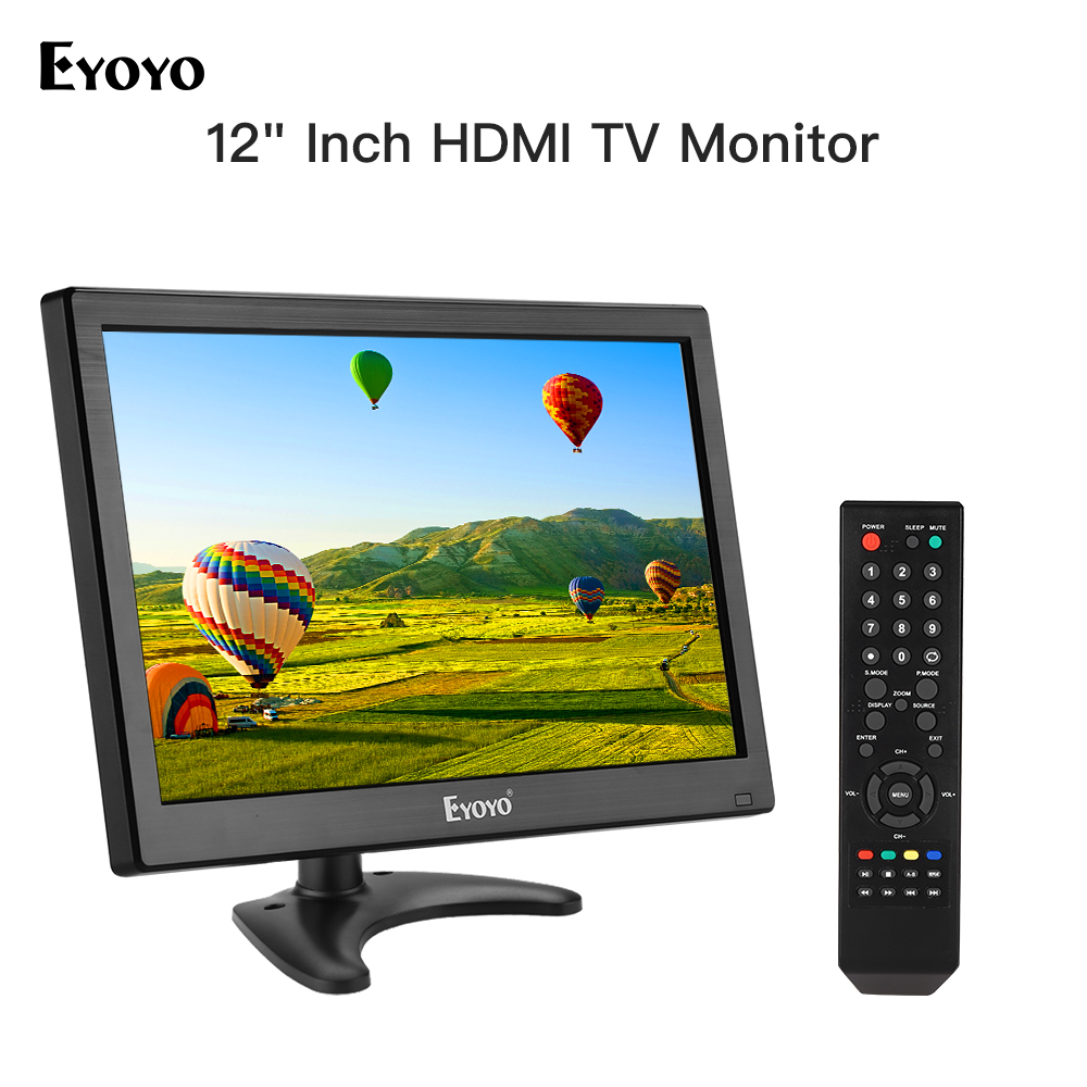 Eyoyo EM12T 12 Inch HDMI CCTV Monitor TV 1920x1080 FHD IPS LCD Screen Display TV HDMI VGA AV USB For PC Computer Security Camera