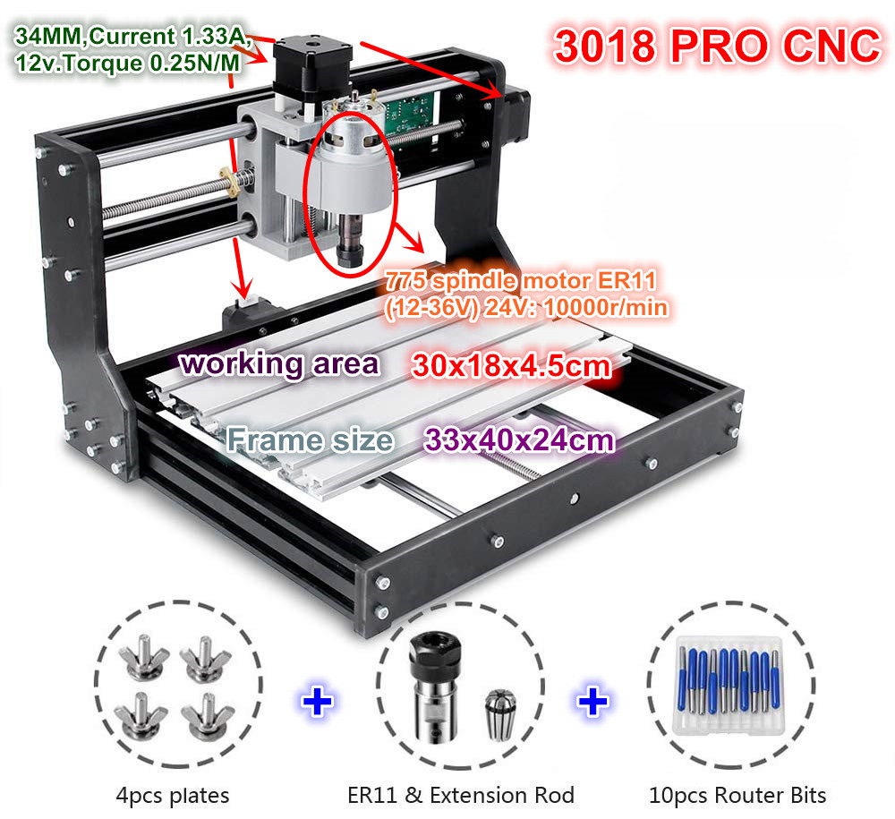 CNC 3018 Pro GRBL Control 3 Axis DIY Mini Machine Pcb Pvc Laser Engraving Milling Machine Wood RouterWoodworking Machinery Parts   -