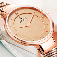 New France Luxury Brand AILUO Women's Watch Quartz Movement Diamond Sapphire Watches 6 mm Ultra thin 50 M Waterproof Clock A7601
