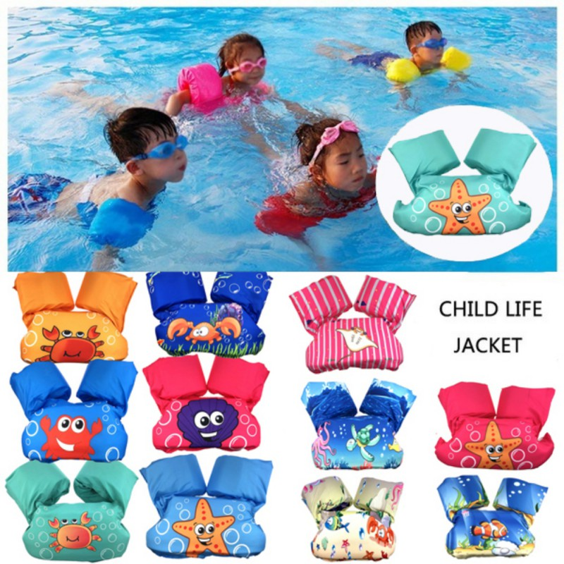 2-7Y  Cartoon Pattern Water Sports Life Jacket Cartoon Children Life Vest Jackets EPE Nylon Material Baby Learn Swimming Floats