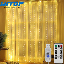 Usb-String-Lights Led-Curtain-Garland Holiday-Decorations Fairy Christmas Bedroom Window