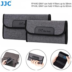 JJC 4 Slots Camera Lens Filter Case Foldable Pouch Holder Storage Bag for UV CPL ND Filter Wallet with Microfiber Cleaning Cloth