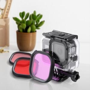Image 3 - Kit de 3 filtros para cámara GoPro HERO 8, lentes de esnórquel de Color rojo y Magenta, accesorios de funda carcasa originales