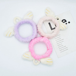 Lovely Angela Wings Women Elastic Hairband Headband Casual Plush Wash Make Up Girls Solid Color Hair Band Fashion Hair Accessory