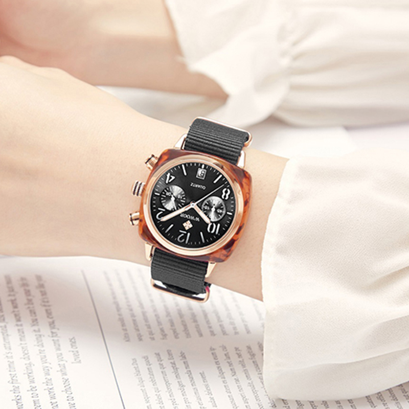 Top Luxury Brand WWOOR New Lady Nylon watch three eye fashion watch factory waterproof Quartz female watches women montre hommeWomens Watches   -