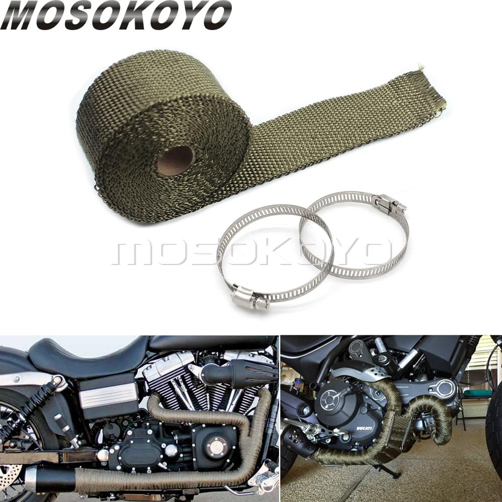 """Suzuki 2/"""" x 25/' Motorcycle Header Exhaust Heat Wrap Blue lava Steel Zip Ties"""