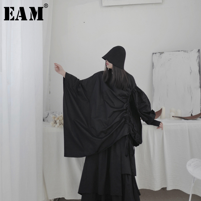 [EAM] Women Drawstring Asymmetrical Big Size Blouse New Stand Collar Long Sleeve Loose Fit Shirt Fashion Spring Autumn 2020 1S22
