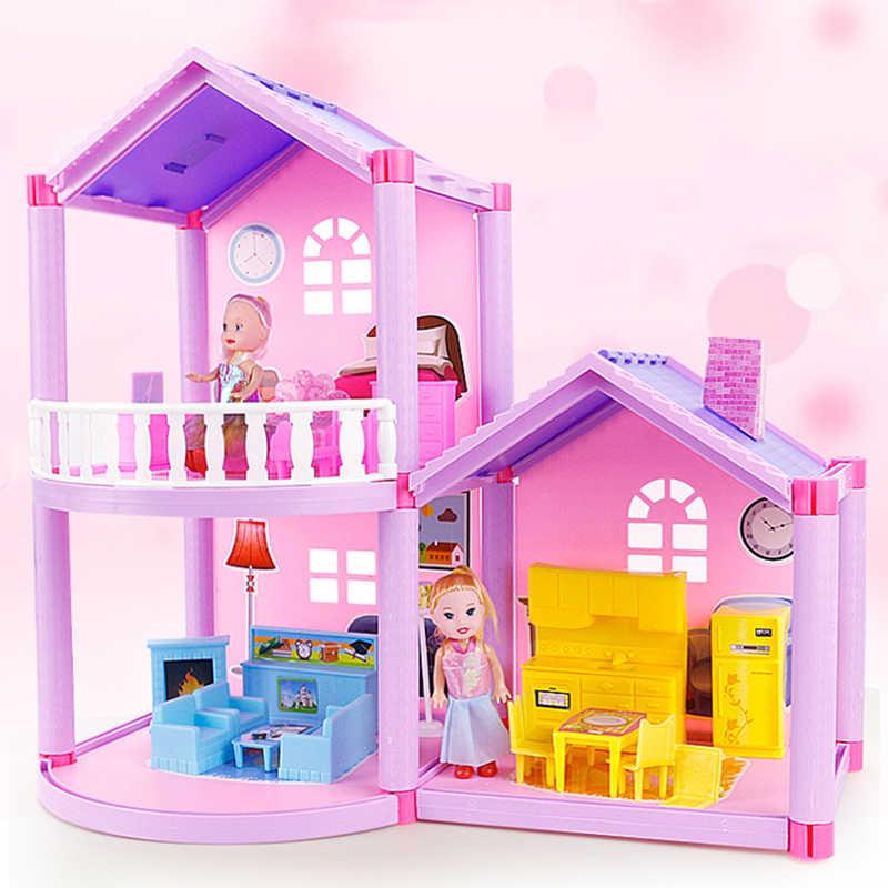 Novo diy família boneca casa acessórios brinquedo com móveis em miniatura garagem montar villa casa de boneca brinquedos para meninas presente aniversário