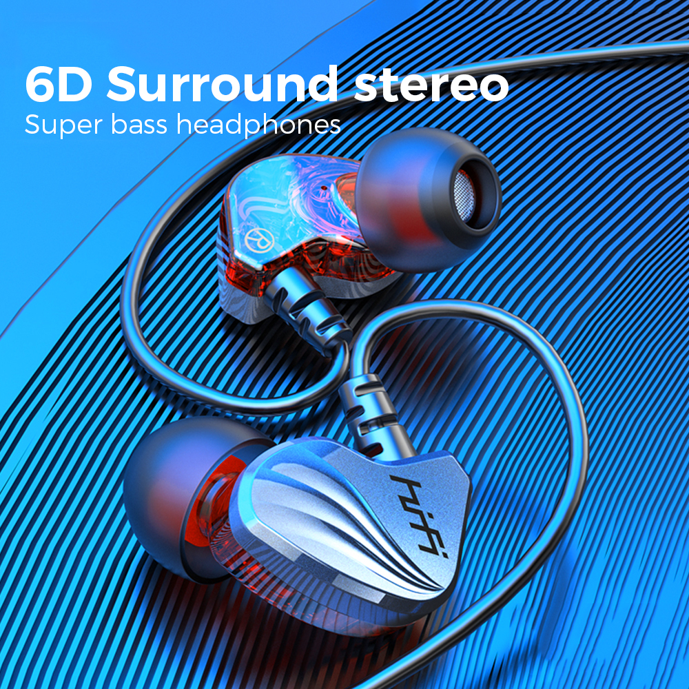 6D Surround Stereo Wired Earphone Sport Earphones Transparent Wired Headphones Extra Bass Headset for Piston Xiaomi Note 8 Pro Headphone/Headset  - AliExpress