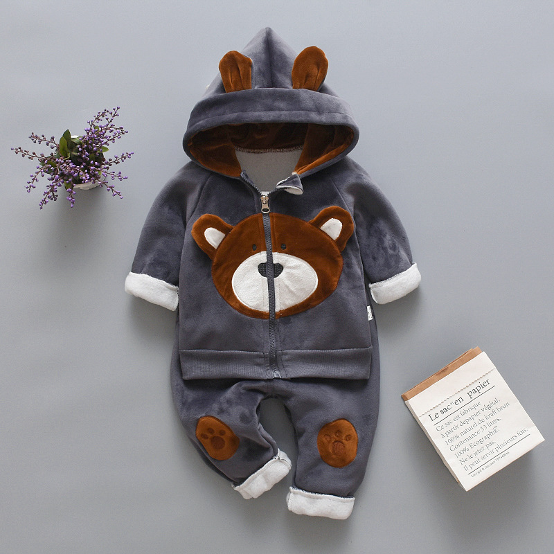 2019 Winter Baby Boys Clothing Sets Fashion Girls Warm Hooded Coats And Pants Suit Baby Thick Velvet Tracksuit Kids Clothes Set 2