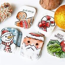 48/50 adet noel Kraft kağıt etiketi noel askılı etiketler hediye ambalaj etiketleri parti kartları dekorasyon DIY noel baba sarma malzemeleri