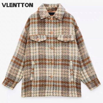 New Autumn Winter Women Fashion Vintage Plaid Shirt Jacket Chic Button Pockets Oversize Coat Tops Casual Loose Outwear Female 1