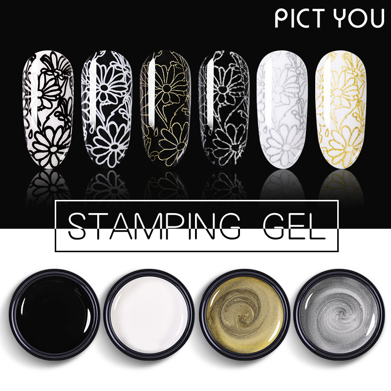 PICT YOU 5ml Stamping Gel Polish Semi Permanent Vernis Paint Gel With Top Coat Stamping Plate Soak Off Gel Polish Varnish