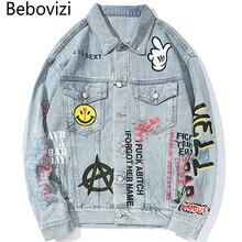 цена Bebovizi 2019 Hip Hop Men Denim Jacket and Coats Streetwear Graffiti Fashion Man Blue Jacket Hipster Japan Outwear