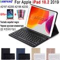 3 0 Bluetooth клавиатура чехол для iPad 10 2 чехол для Apple iPad 7th поколение A2200 A2198 A2197 русская испанская английская клавиатура