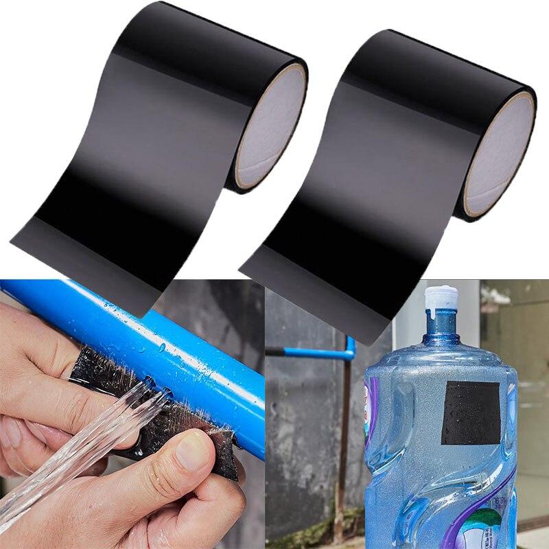 2 pièces 150CM Super forte Fiber imperméable à leau bande Stop fuites joint réparation bande Performance auto-fixe ruban fibrofix adhésif réparation