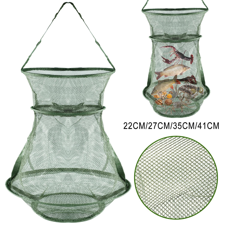 Sougayilang taşınabilir 4 boyutları 3 katmanlı balık ağı yuvarlak katlanır balık karides örgü kafes Cast Net balıkçılık tuzak Net kat tor ağı