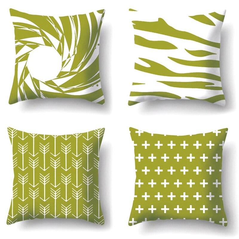 Geometry Print Decorative Cushions Pillowcase Cushion Cover Throw Pillow Sofa Decoration Pillowcover-Green