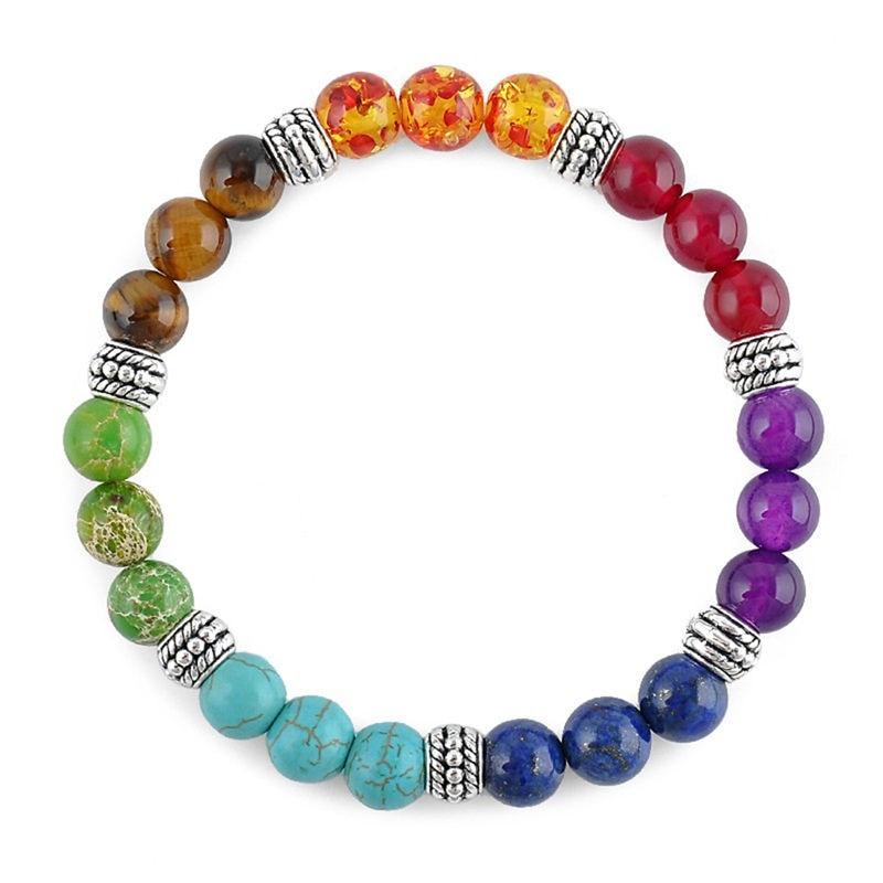 7 Chakra Bracelet Black Lava Healing Balance Beads Reiki Buddha Prayer Men Natural Stone Yoga Bracelet For Women 8mm/0.31in