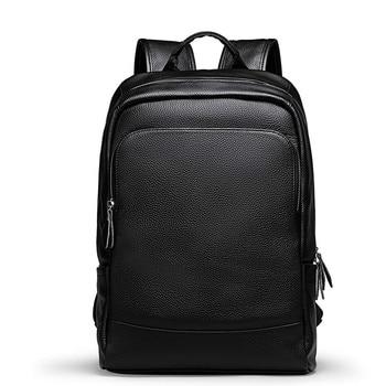 Genuine Leather Backpack Men Youth  Backpacks Preppy Schoolbag Book Bag High Quality Laptop Bagpack Male Travel Backpack Sack