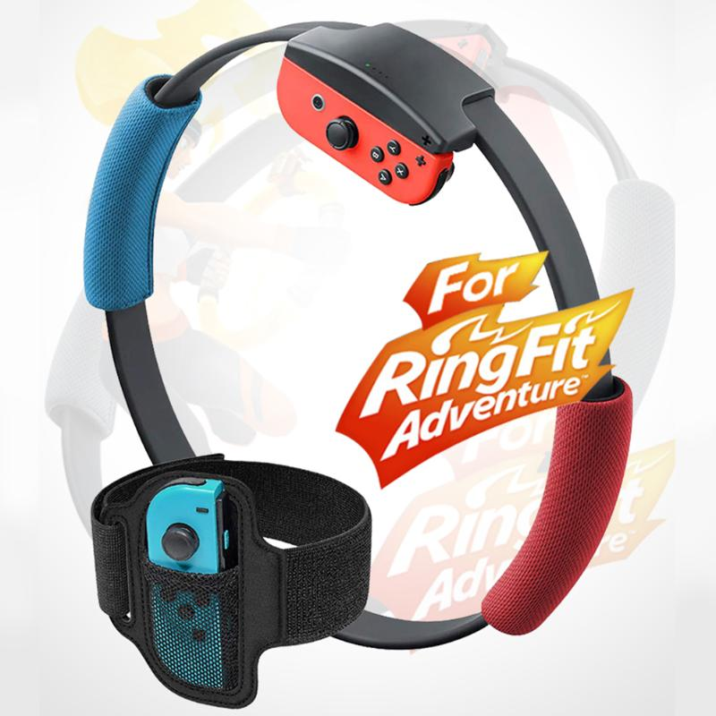 ALLOYSEED Leg Fixing Strap Sport Band+Non-Slip Ring-Con Grips Protect The Controller Adjustable Leg Strap Fit For Nintend Switch