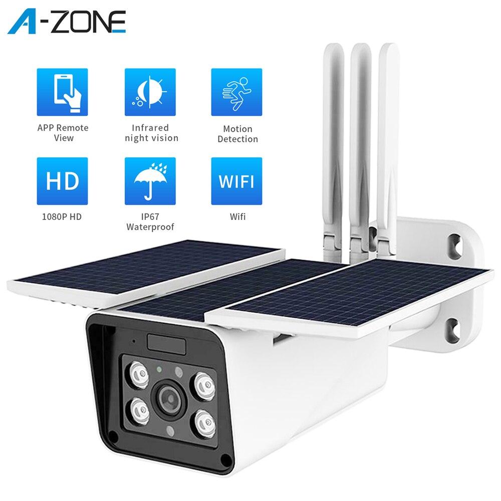 A-ZONE Wifi Solar Camera 1080P Outdoor Solar IP Security Camera IP67 Waterproof IR Night Vision PIR CCTV Surveillance Camera
