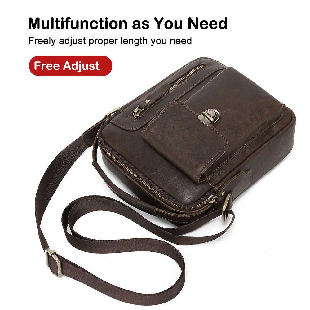 BOLO 2019 bolso de moda para hombre bolso de hombro de cuero genuino para hombres bolsos de mensajero multifunción bolso de cuero dividido para hombre de viaje
