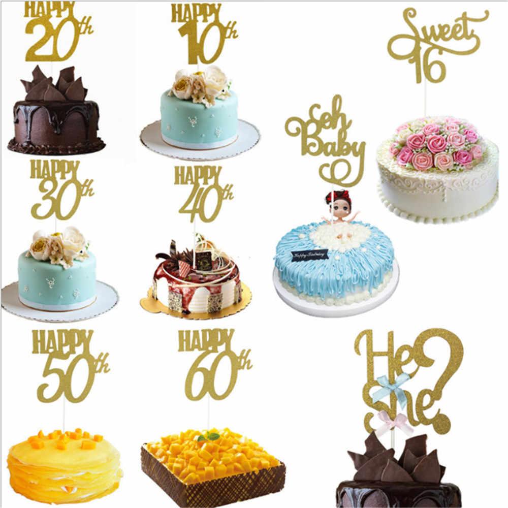1 PC Happy 18/20/30/40/50/60th ANNIVERSARY Cupcake Topper Glitter Silhouette เค้ก topper งานแต่งงาน/วันเกิด/ปาร์ตี้เค้กตกแต่ง
