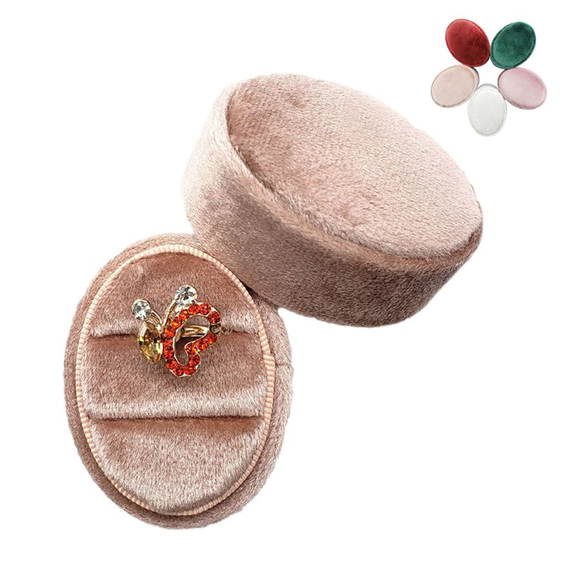 Oval Velvet Ring Box Double Ring Display Holder With Detachable Lid Ring Box Holder For Wedding Ceremony(Pink)