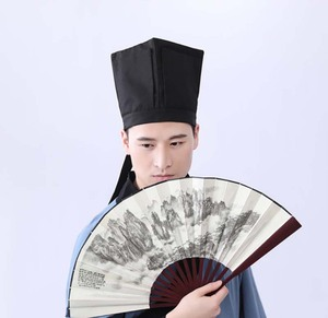 Image 2 - Men Hanfu Hat Chinese traditional Ancient scholar Black Hat Headdress Vintage Fittings Confucian Towel Cosplay Hat For Men Black