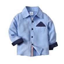 AliExpress, детская одежда, Весенняя рубашка с длинными рукавами для мальчиков, контрастная цветная рубашка, оксфордская ткань, весенне-осенняя открытка