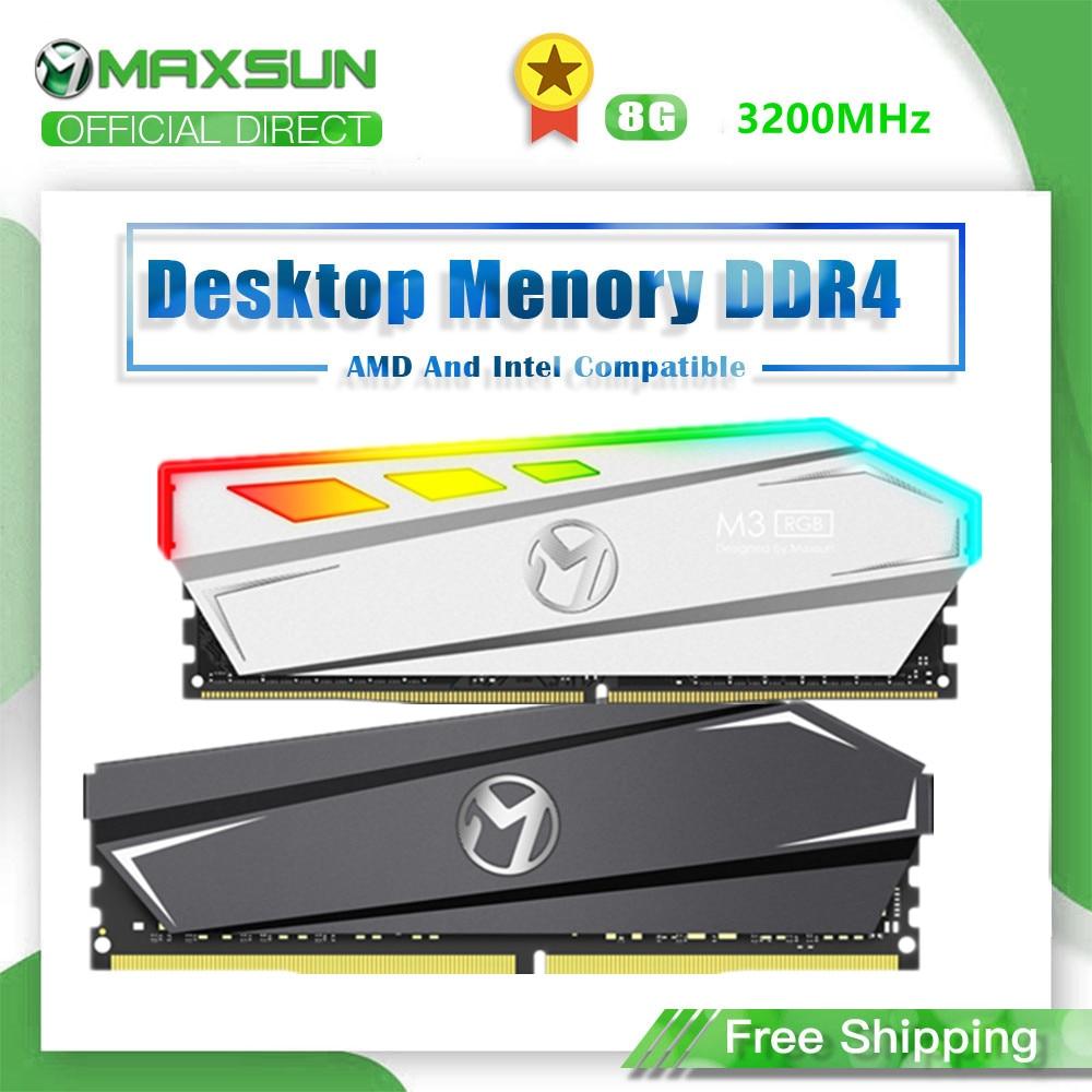 MAXSUN-Interfaz de iluminación RGB RAM DDr4, 8GB, 3200MHz, 288Pin, voltaje de la Memoria, 1,2 V, 3 años de garantía, Original