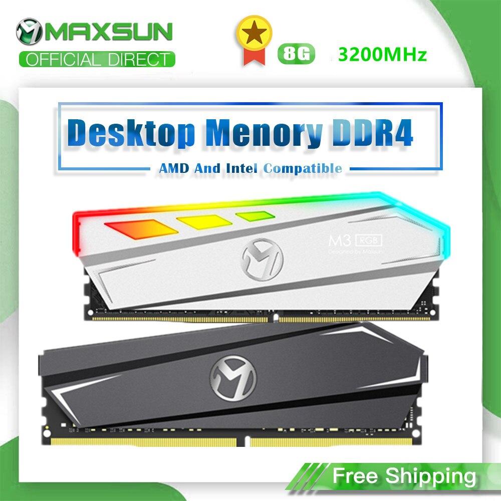 MAXSUN RAM DDr4 8GB 3200MHz oświetlenie RGB interfejs 288Pin napięcie pamięci 1.2V 3 lata gwarancji Memoria RAM ddr4 oryginalne pamięci RAM