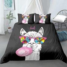 Набор постельного белья с забавной ламой пододеяльником радужным