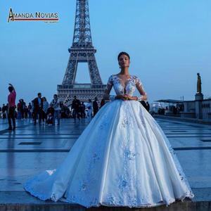 Image 1 - חדש פאף גדול כדור שמלת תחרת חתונת שמלות עם יפה עיצוב 2020 כלה שמלה