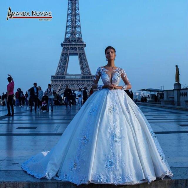 חדש פאף גדול כדור שמלת תחרת חתונת שמלות עם יפה עיצוב 2020 כלה שמלה